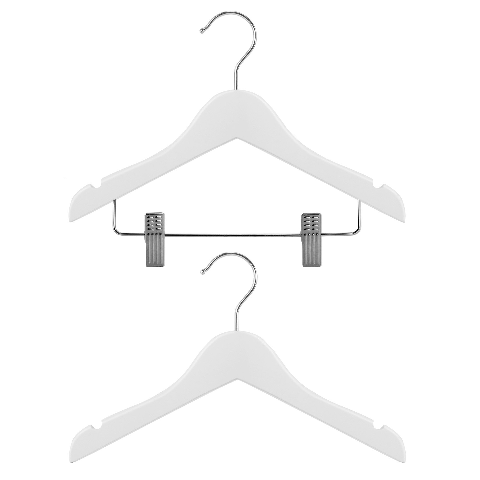 HANGERWORLD Set of 12 Kid's White Wooden Top & Pants Clip Closet Coat Hangers - For Baby & Toddler Clothes 10 inches