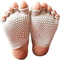 George Jimmy Calcetines de Yoga de Punta de algodón de la Manera Semi Calcetines absorbentes de Antideslizante-Blanco