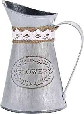 Ivosmart Vintage Antique Style Metal Jug Flower Vase Primitive Pitcher for Home Decoration