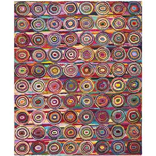 Safavieh Nantucket Collection NAN143A Handmade Abstract Geometric Pink and Multi Cotton Area Rug (8' x - Rug Expression Area Abstract