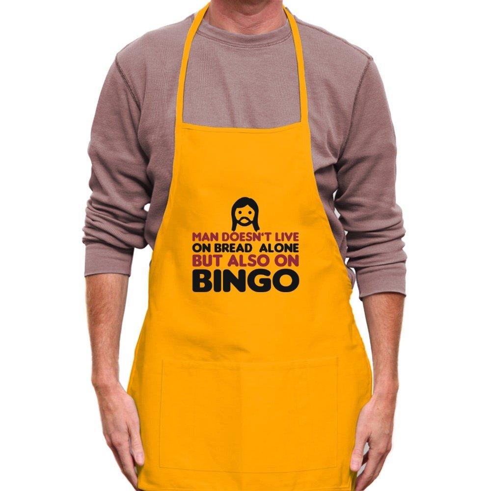 Teeburon MAN DOESN'T LIVE ON BREAD ALONE BUT ALSO ON Bingo Apron