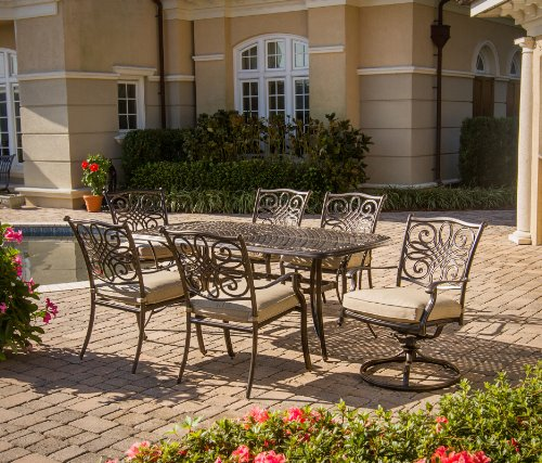 """Hanover TRADITIONS7PCSW, 4 Stationary, 2 Swivel Rocker Chairs, and 38""""x72"""" R Traditions 7-Piece Cast Aluminum Outdoor Patio Dining Set, Bronze Frame, Tan - Durable, weather-resistant set has 4 deep-cushioned dining chairs, 2 deep-cushioned swivel-rockers with 360-degree spin. Blended extruded-aluminum and decorative-cast components with hand-applied multiple-coat finish remains rust-free for the lifetime of the furniture Deep seat cushions for optimum comfort are quick-drying, stain-resistant, UV protected and maintain their original shape - patio-furniture, dining-sets-patio-funiture, patio - 61B0ZoB3D%2BL -"""