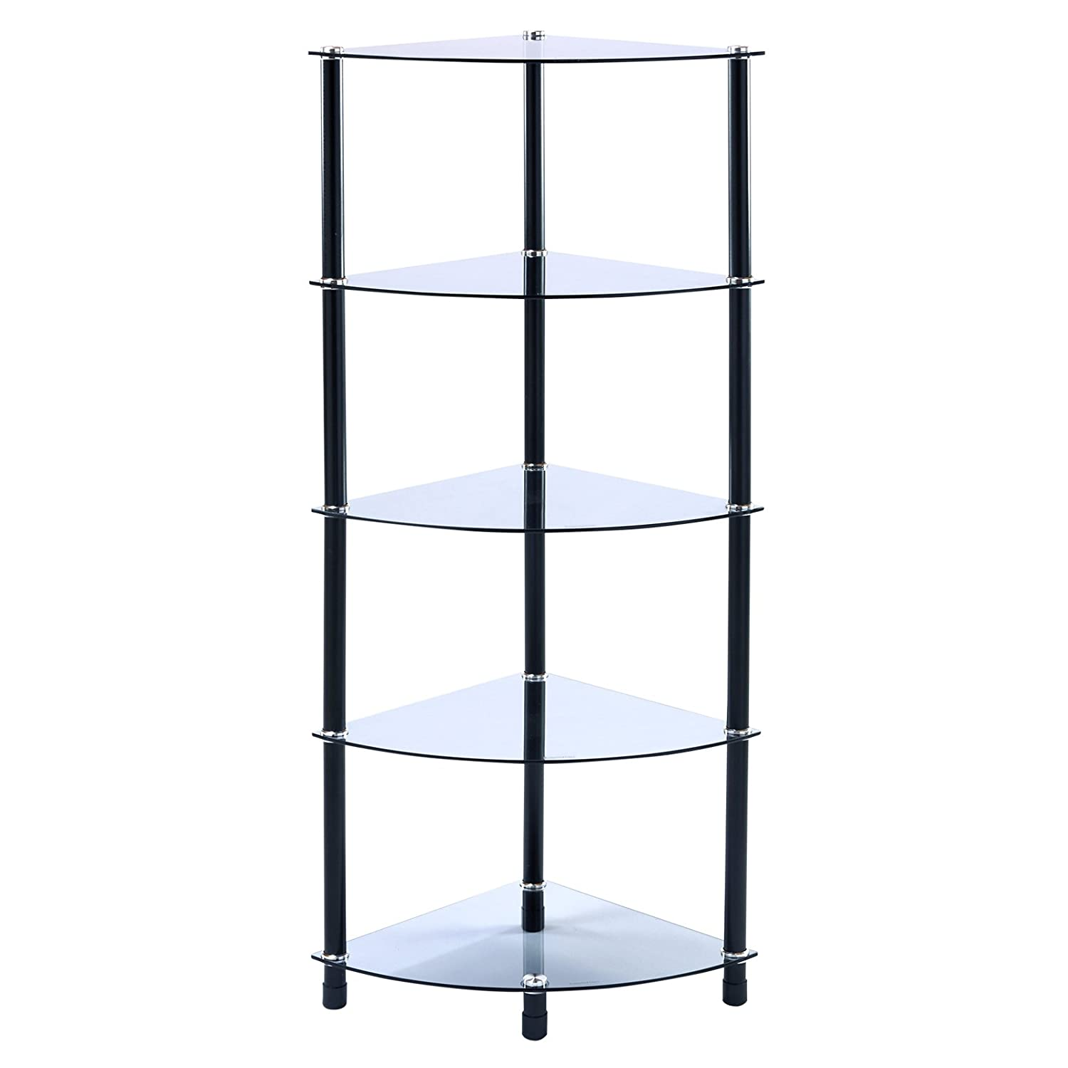 5 Tier Tinted Glass Corner Shelf Rounded Shelving Unit Display