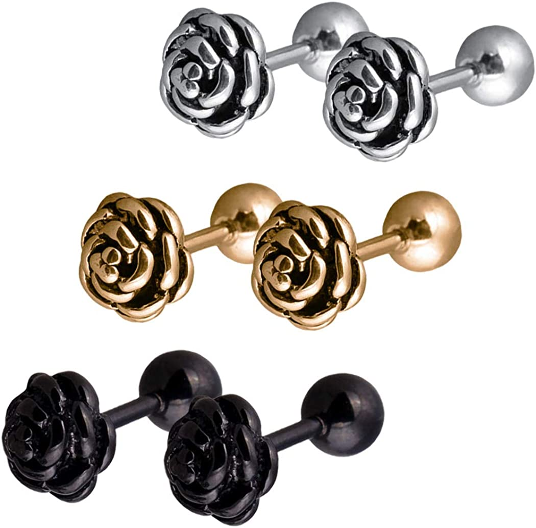 Ineffable Stainless Steel Earrings Rose Flower Ear Stud Earring Gold/Silver/Black Color Ear Jewelry