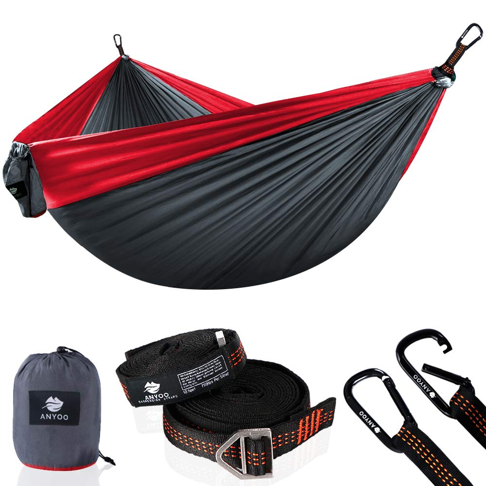 Anyoo Double Camping Hammock Lihgtweight Portable Parachute Hammock with Heavy Duty Tree Straps Carabiners-Hiking Backpacking Travel Adventure Yard Beach