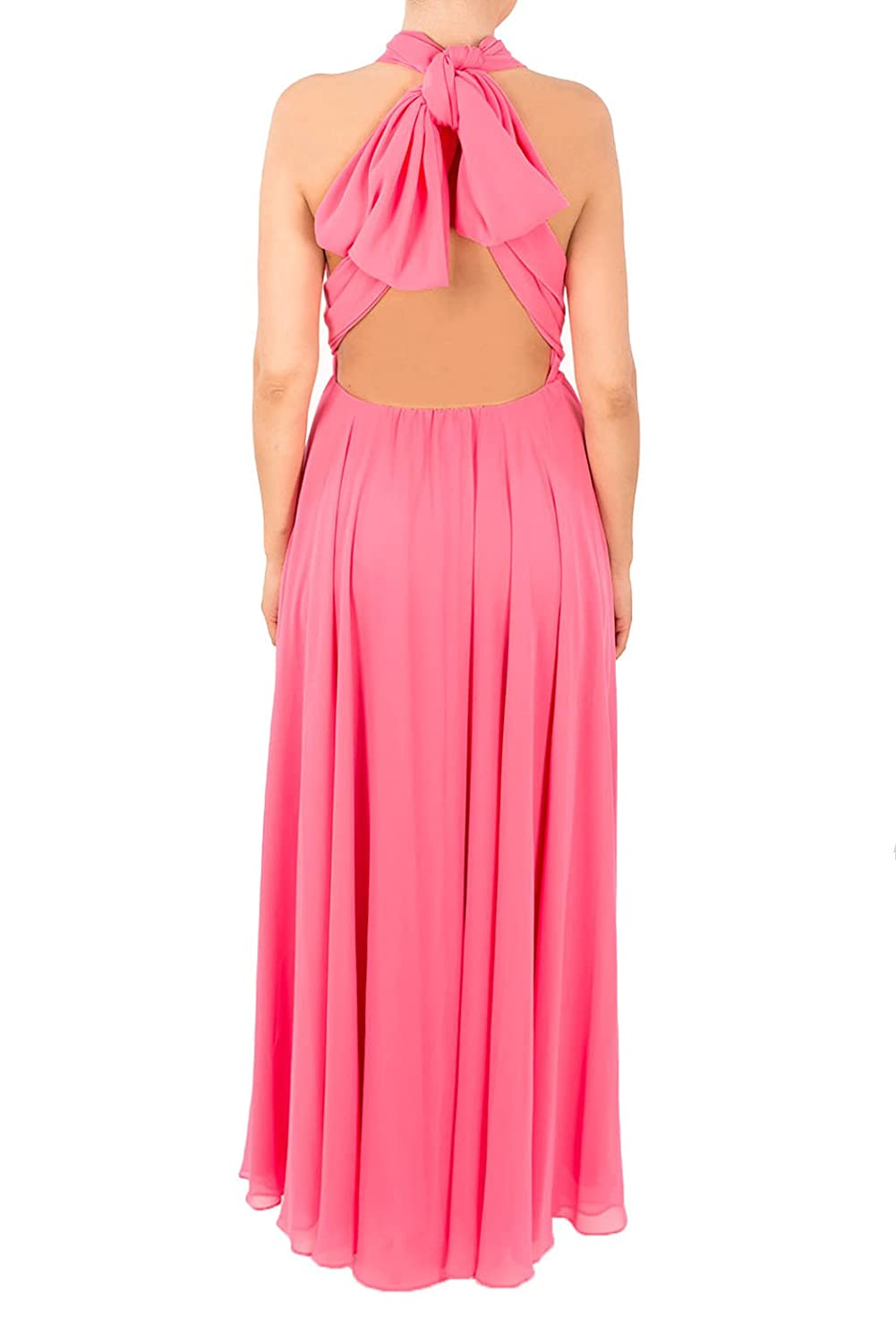 5cb3f1f69c0 Multiway Convertible Maxi Dress in Bright Pink Chiffon Material (12)   Amazon.co.uk  Clothing