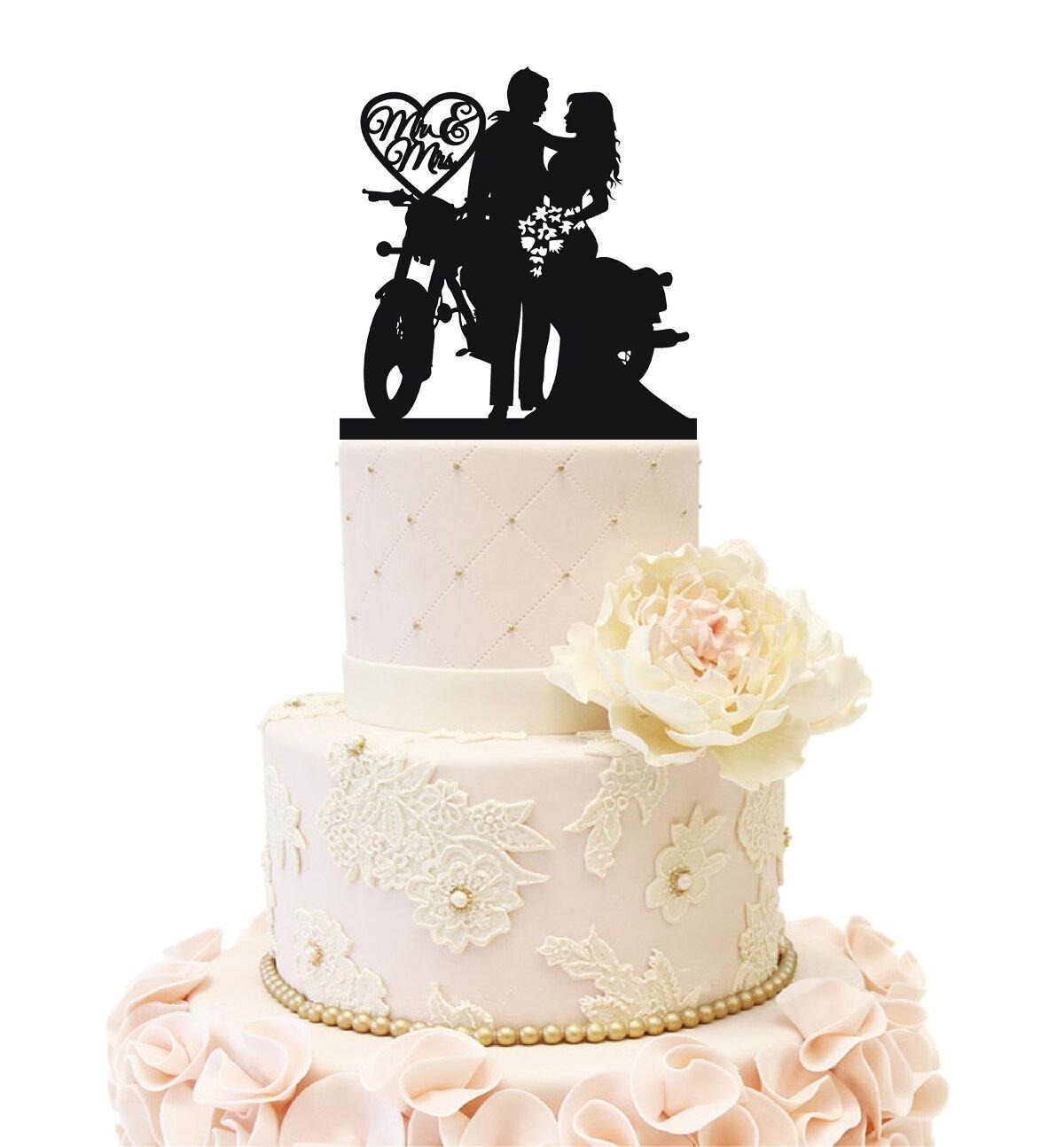 Amazon.com: Motorcycle Funny Wedding Cake Topper Mr Mrs Bride Groom ...