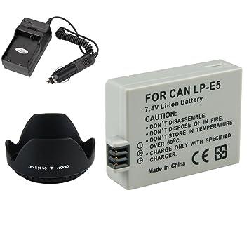 Theo y Cleo para Canon LP-E5 Recargable + Cargador + 58 mm ...