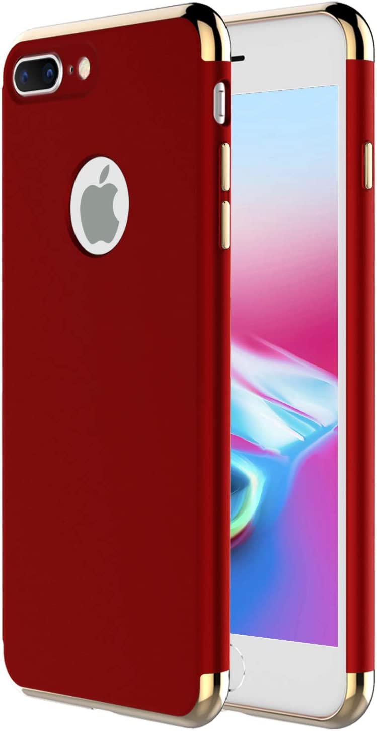 """iPhone 8 Plus Case,iPhone 7 Plus Case,RORSOU 3 in 1 Ultra Thin and Slim Hard Case Coated Non Slip Matte Surface with Electroplate Frame for Apple iPhone 7/8 Plus (5.5"""") - Red and Gold"""