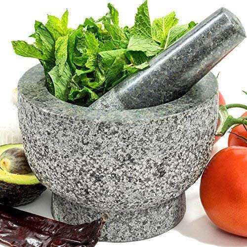 Mortar and Pestle Set - Unpolished Granite Bowl - 6 Inch, 2 Cup Natural Heavy Molcajete Stone - With Anti-Scratch Felt - Made for a lifetime