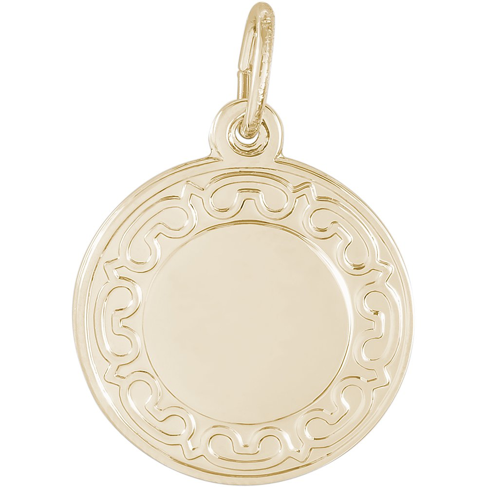 Box or Curb Chain Necklace Rembrandt Charms Two-Tone Sterling Silver Ornate Round Disc Charm on a Sterling Silver 16 18 or 20 inch Rope