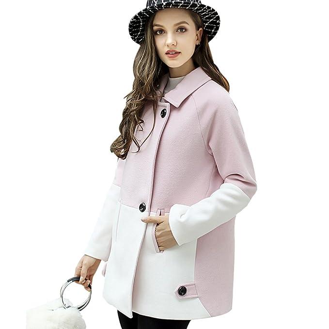 YAANCUN Mujer Estilo Coreano Costura Diseño De Dos Colores Abrigo De Lana: Amazon.es: Ropa y accesorios