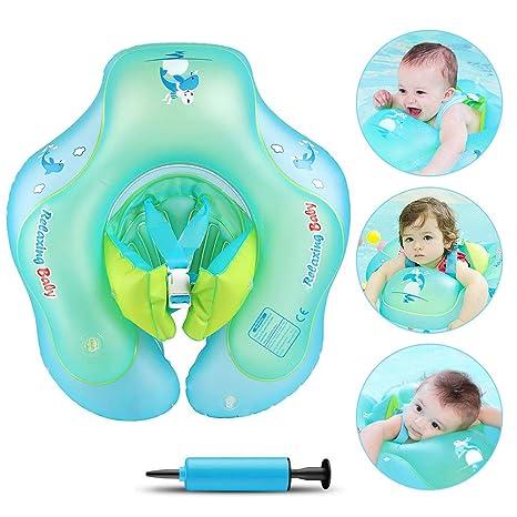 Infreecs Flotador para bebé, Asiento de Flotador Inflable Juguetes de Piscina Anillo de natación para