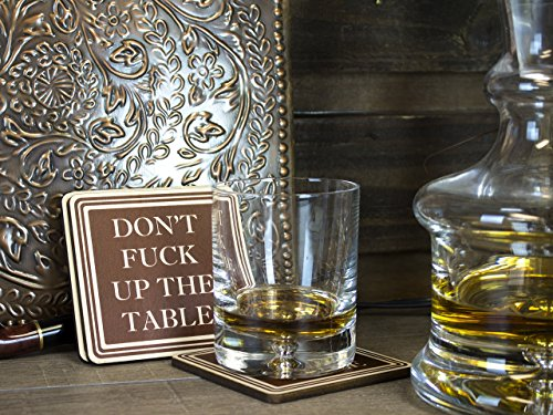 Don't Fuck Up The Table Wood Absorbent Drink Coasters - Great Housewarming Gift - Passive Aggressive - Funny Coaster - Made in USA SET OF 4 (Brown) by Wooden Shoe Designs (Image #5)