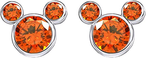 Simulated Citrine Flower Stud Earrings 14K White Gold Over Sterling Silver