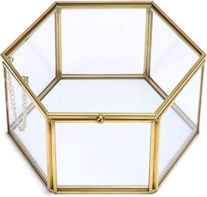 Sumnacon Joyero decorativo de cristal, joyero organizador de maquillaje, caja de regalo, expositor para pendientes, collares, anillos (dorado, grande): Amazon.es: Joyería