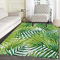 Plant Print Area rug Watercolor Tropical Palm Leaves Colorful Illustration Natural Feelings Indoor/Outdoor Area Rug 5x6 Fern Green Lime Green