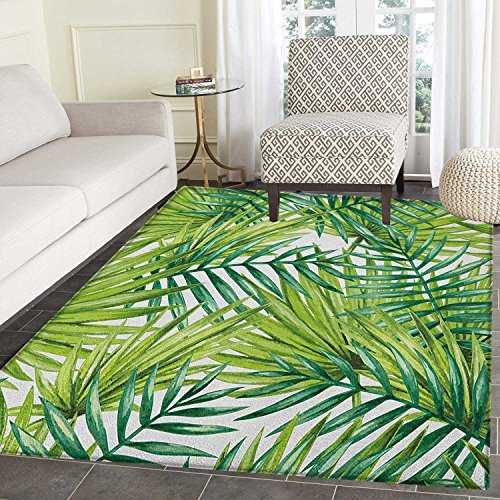 Plant Print Area rug Watercolor Tropical Palm Leaves Colorful Illustration Natural Feelings Indoor/Outdoor Area Rug 5'x6' Fern Green Lime Green