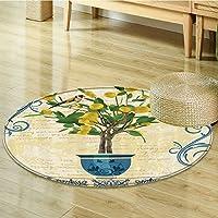 Lemons Decor Lemon Tree Birds Circle carpet Traditional Tiles Paisley Monarch Butterfly Bird Vintage Style Floral Flowerpot Ceramic Vase Pattern Room Decor Ivory Yellow Green Blue-Diameter 70cm(28)