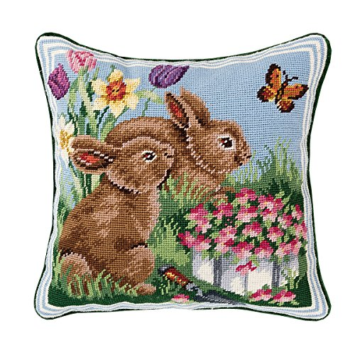 C&F Home Bunnies in The Field #2 Needlepoint Pillow 14 x 14 - Needlepoint Bunny
