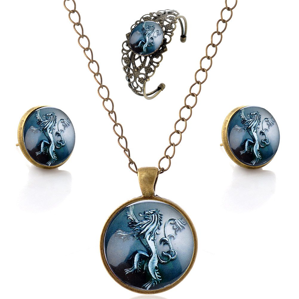 Lureme Women Glass Time Gem Game of Thrones Pendant Necklace Stud Earrings Bangle Jewelry Sets (js000725) Yida js000750-2