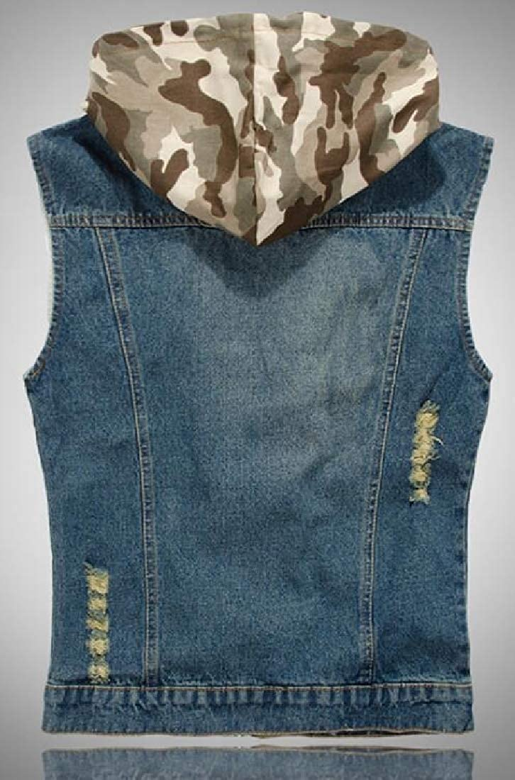 WSPLYSPJY Mens Casual Hooded Camouflage Zip Front Ripped Denim Vest Waistcoat
