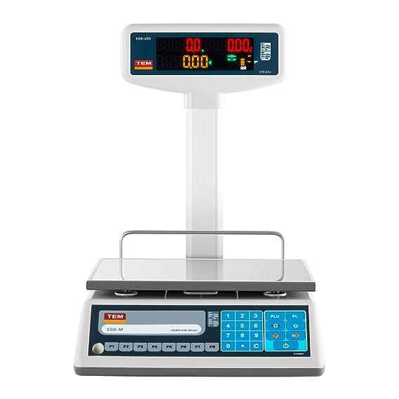 TEM Balanza comercial con pantalla LED superior TEL030B1D-V2-B1 (calibrada, 15 kg/30 kg, 5g/10 g, Batería 40 h, Diversas funciones): Amazon.es: Hogar