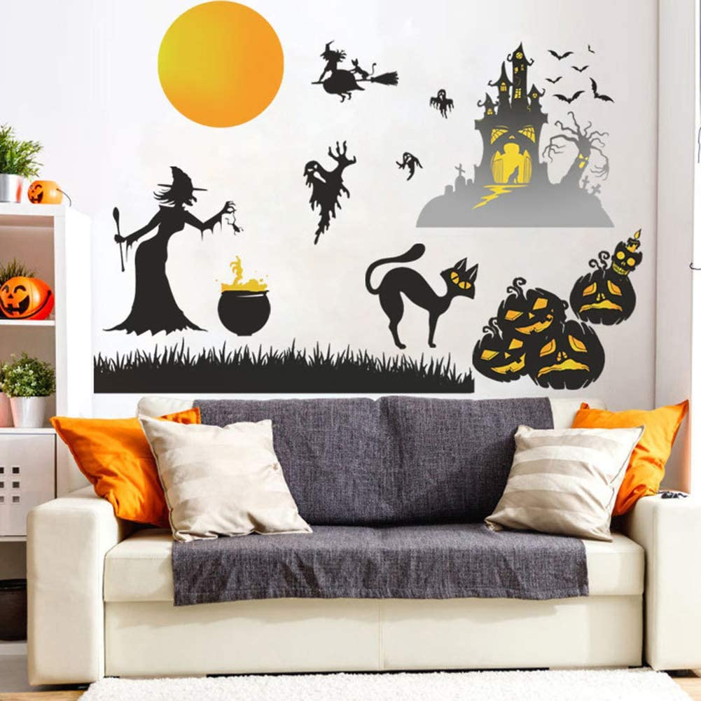 Youyouyu Happy Halloween Wall Stickers Pumpkin Spider Bat Window Home Party Decoration DIY Removable Wall Decal for Living RoomClassroom fice