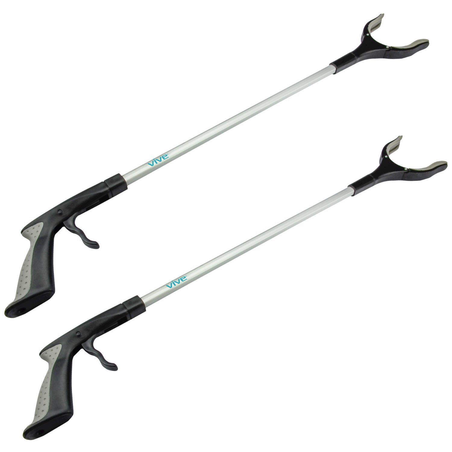 Vive Reacher Grabber - 32'' Extra Long Mobility Aid - Rotating Hand, Heavy Duty Grip Arm - Reaching Assist Tool for Trash Pickup, Litter Picker, Garden Nabber, Disabled, Handicap Arm Extension (Two)