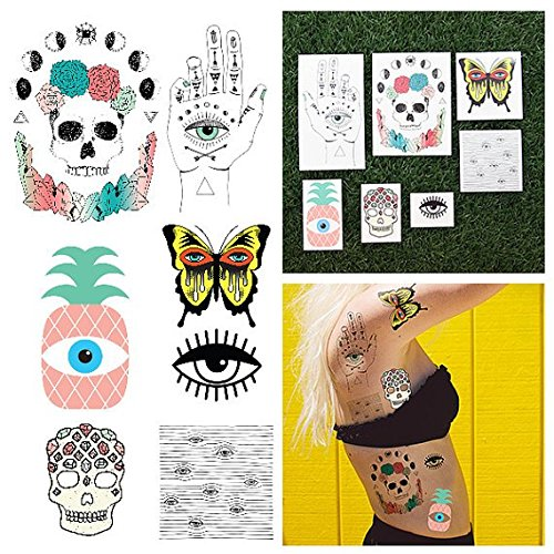 Tattify Weird Eyeball Themed Temporary Tattoos - A Sight for Sore Eyes (Complete Set of 14 Tattoos - 2 of each Style) - Individual Styles Available - - Fashionable Temporary Tattoos ()