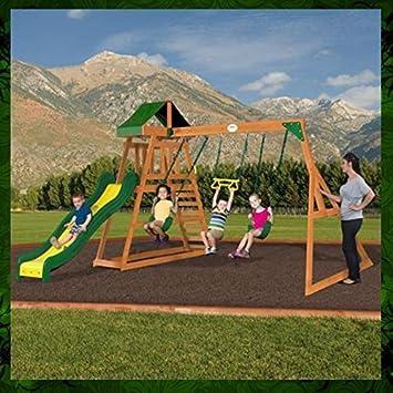 Metal Swing Set Kids Playground Swing Slide Outdoor Backyard Playset Toddler Fun