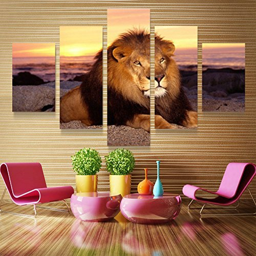 Xuanyi Art 5Panel African Lion Canvas Prints Oil Painting Pictures Wall Art Home Decor For Living Room Printing On Canvas(With Inner wood frame ready to hang directly) EMS(6-8 Working ()