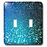 3dRose Uta Naumann Faux Glitter Pattern - Sparkling Ocean Blue Luxury Elegant Mermaid Glitter Effect Art print - Light Switch Covers - double toggle switch (lsp_266823_2)