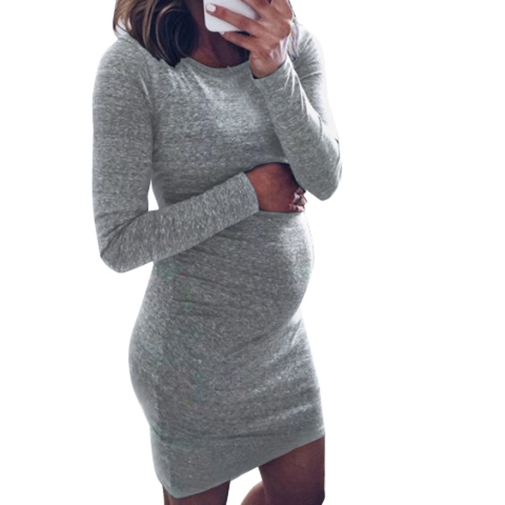 Kehen Women Maternity Mini Dress Mama Long Sleeve Long Shirt Nursing Breastfeeding for Pregnant