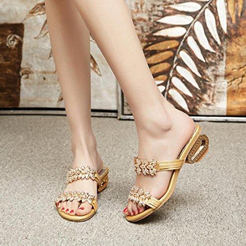 Sandals Flops Shoes Sexy Slipper Glod Women Flip Party Crystal Heels High hunpta Rhinestone aYqRFPwxwH