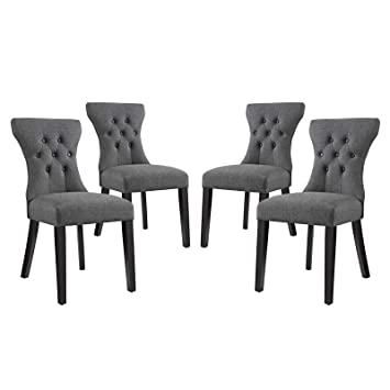 Amazon Com Modway Eei 3328 Gry Silhouette Dining Side Chairs