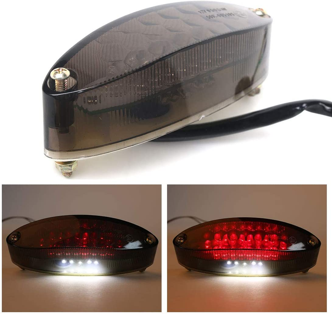BOMPA Rear Tail Motorcycle Integrated Light 12V Black Smoke Lens 28 LED Brake Stop Running Lightr Universal fit
