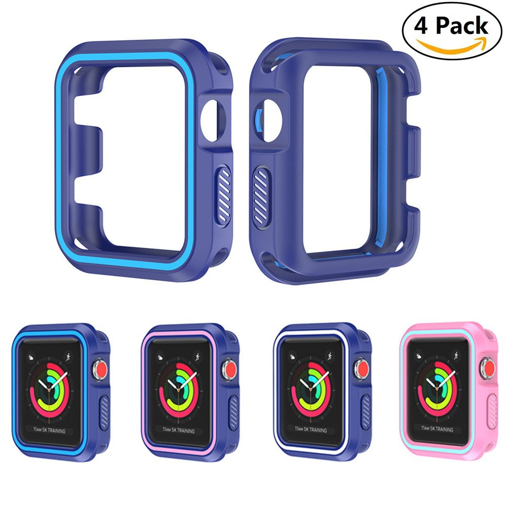 Case For Apple Watch 38mm, Leagway Shock-proof Soft Silicone All-around Protective Cover, Ultra-thin Anti-Scratch Case for Apple iwatch Series 3, Series 2, Series 1, Nike+, Sport, Edition [4 Pack]