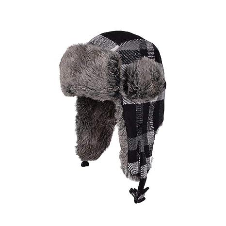 Chapeau Trappeur Chaud Fourrure Bonnet d oreille Rabat Bonnet Aviateur pour  Le Ski, la cf01a538091
