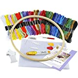 Arts & Crafts : Caydo Full Range of Embroidery Starter Kit Cross Stitch Tool Kit Including 10 Inch Bamboo Embroidery Hoop, 36 Color Threads, 12 by 18-Inch 14 Count Classic Reserve Aida and Tool Kit