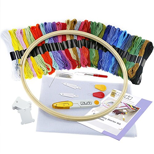 Caydo Full Range of Embroidery Starter Kit Cross Stitch Tool Kit Including 10 Inch Bamboo Embroidery Hoop, 36 Color Threads, 12 by 18-Inch 14 Count Classic Reserve Aida and Tool Kit (Kit Instructions Drum)