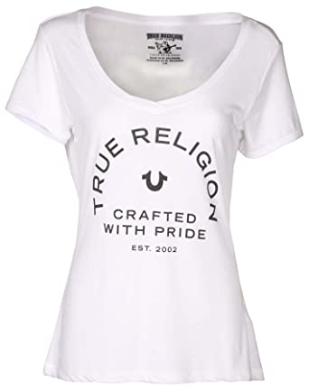 461f79c3 True Religion Women's Crafted w/ Pride Rounded V Neck Tee T-Shirt in White
