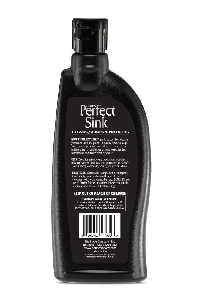 Amazon.com: Hopeu0027s Perfect Sink   8.5 Oz Sink Cleaner And Polish,  Restorative, Water Repellant Formula, Removes Stains, Good For Brushed  Stainless Steel, ...