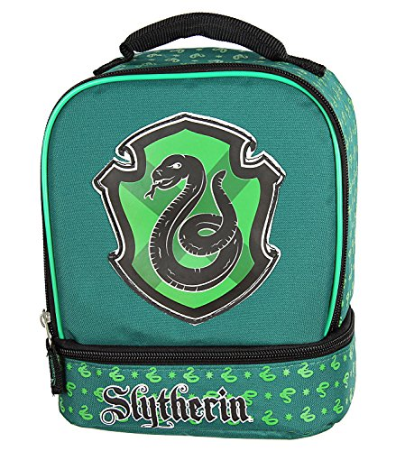 Harry Potter Lunch Box - Gryffindor, Slytherin, Ravenclaw, Hufflepuff Insulated Dual Compartment Tote Bag (Slytherin)