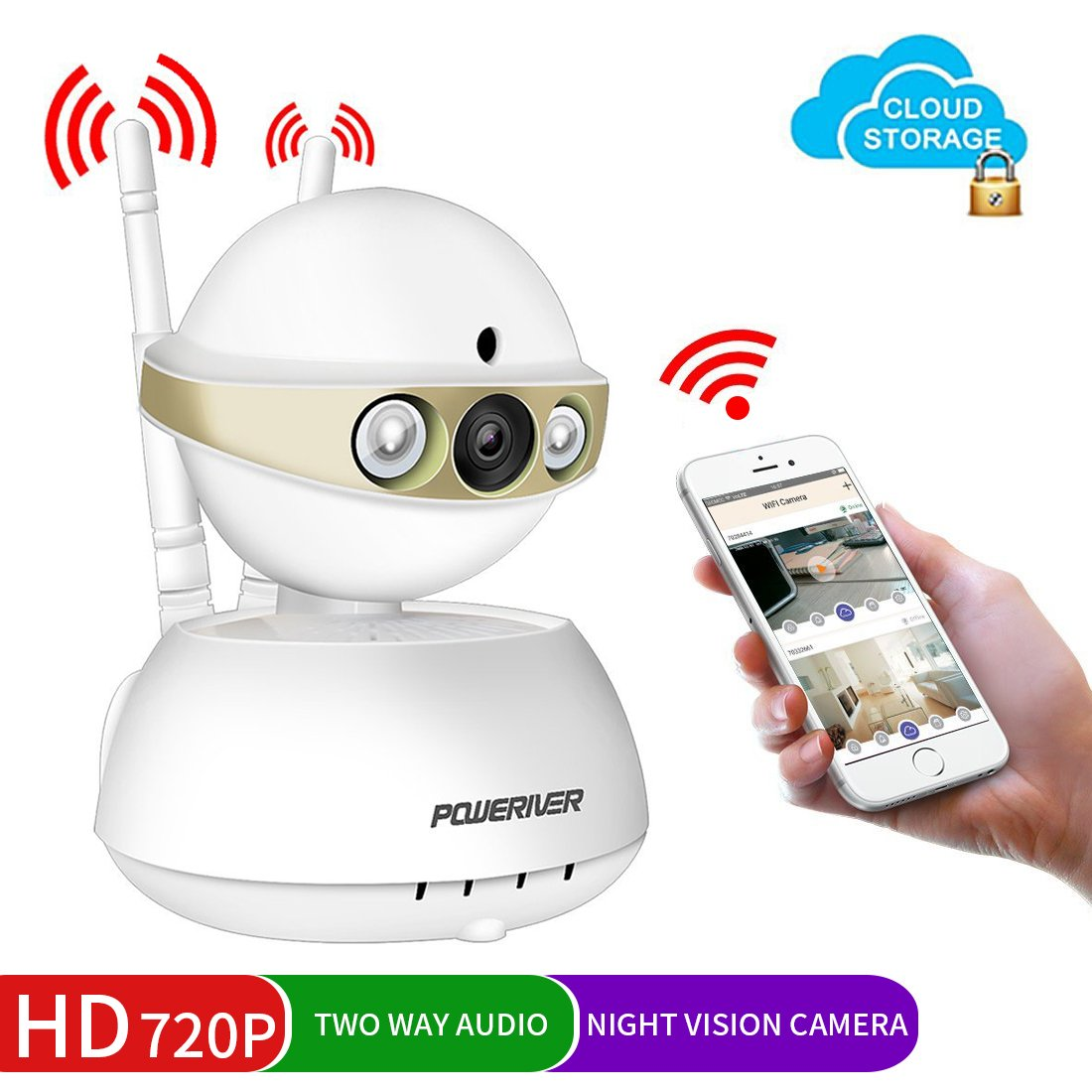 Home Camera,POWERIVER WiFi IP Indoor Security System with Motion Detection,Two-Way Audio & Night Vision for Baby/Pet / Front Porch Monitor,Remote Control with iOS,Android,PC App(Gold)