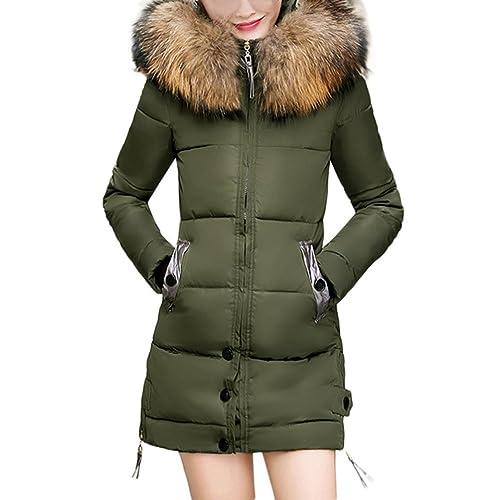 SHOBDW Mujeres de invierno cálido delgado encapuchado abajo acolchado abrigo largo parka chaqueta