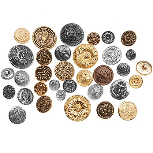 Vintage Gold Button (Assorted Vintage Metal Buttons Gold And Silver Tone 12-28mm Diameter - 1/4 Pound Variety Pack)