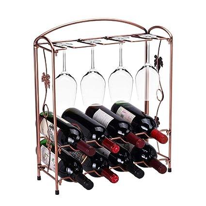 Amazon com: Metal Wine Rack, Wine Organizers Display Glass Holder