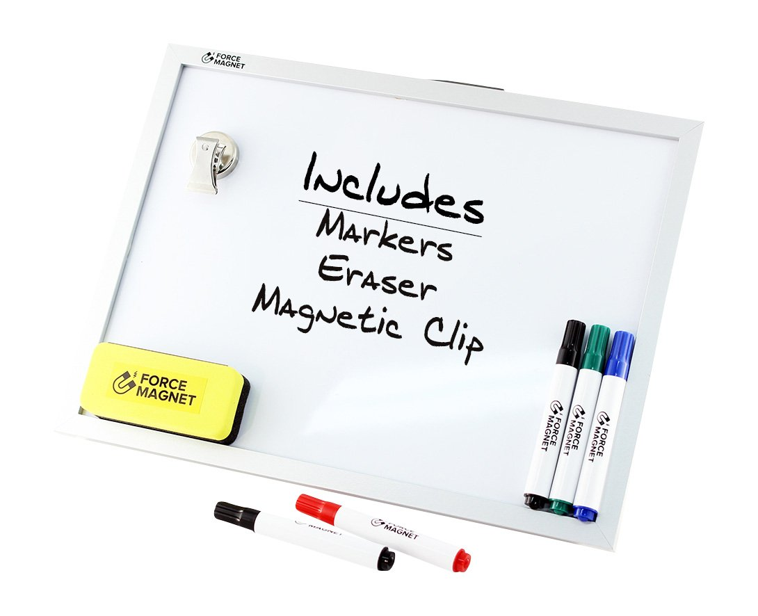 Magnetic 12 x 16'' Dry Erase Whiteboard. Includes 5 Dry Erase Markers, Assorted Colors.Magnetic Eraser Great for Fridge, Locker, and More 10 Seconds Super Easy Mounting System by FORCE MAGNET (Image #1)