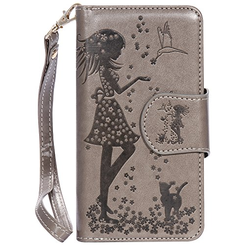 Meet de gris (Papillon - Filles) gaufrage pour Apple iphone 7 Cas de téléphone, Apple iphone 7 Case, Apple iphone 7 Étui à rabat Coque, Apple iphone 7 Housse en cuir, Apple iphone 7 Etui portefeuille